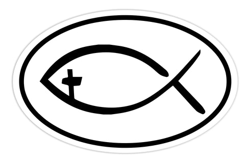 Christian Fish Sticker Decal - Jesus and Christian Fish Religious Bumper Sticker - The FinderThings