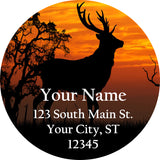 Deer Sunset Personalized Return Address Labels Buck Stag in Country - The FinderThings