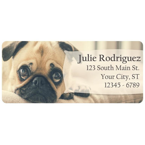 Pug Dog Puppy Cute Doggy Personalized Return Address Labels - The FinderThings