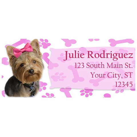 Yorkie Dog with Pink Bow and Paws Personalized Return Address Labels