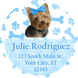 Yorkie Dog with Blue Bow and Paws Personalized Return Address Labels