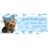 Yorkie Dog with Blue Bow and Paws Personalized Return Address Labels - The FinderThings