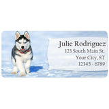 Husky Puppy Cute Dog Snow Husky Personalized Return Address Labels - The FinderThings