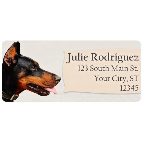 Doberman Pinscher Dog Cute Puppy Personalized Return Address Labels
