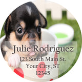 Black and Brown Short Haired Puppy Dog Personalized Return Address Labels - The FinderThings