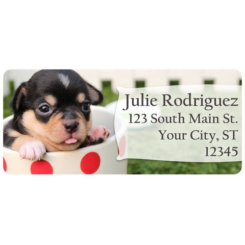 black and brown short haired puppy dog personalized return address