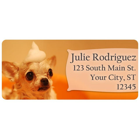 Chihuahua Dog Puppy Cute Foam Doggy Personalized Return Address Labels - The FinderThings