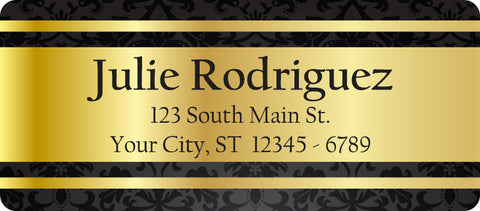 Elegant Gold Personalized Return Address Labels with Paisley Pattern - The FinderThings