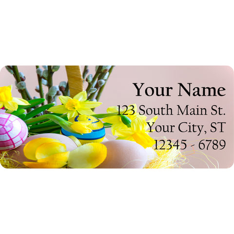 Easter Floral Arrangement Personalized Return Address Labels Flowers Eggs - The FinderThings