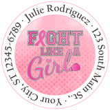 Breast Cancer Awareness Fight Like a Girl Personalized Return Address Labels