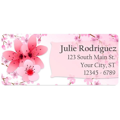 Cherry Blossom Flower in Pink Petals Tree Personalized Return Address Labels