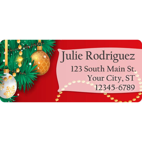 Christmas Holiday Wreath and Decorations Personalized Return Address Labels - The FinderThings