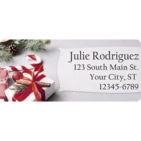 Christmas Holidays Candy Cane and Presents Personalized Return Address Labels - The FinderThings