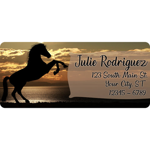 Horse Personalized Return Address Labels Cowboy and Cowgirl Western Rider - The FinderThings