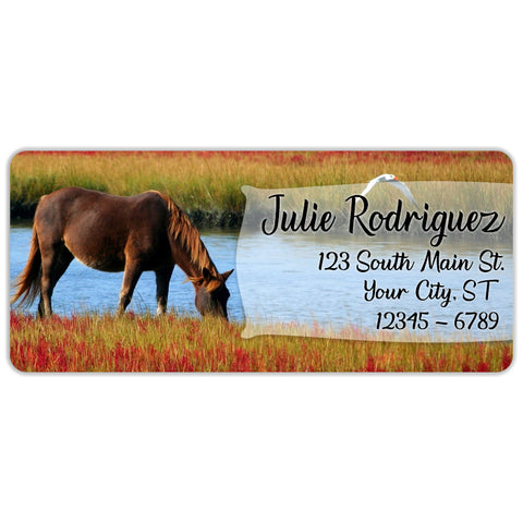 Horse Personalized Return Address Labels by River and Cowboy Cowgirl - The FinderThings