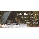A-Frame Cabin Personalized Return Address Labels in the Mountains