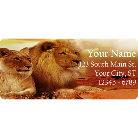 Lions in Love Personalized Return Address Labels Lion Lovers at Sunset - The FinderThings