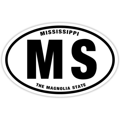 State of Mississippi Sticker Decal - The Magnolia State Bumper Sticker