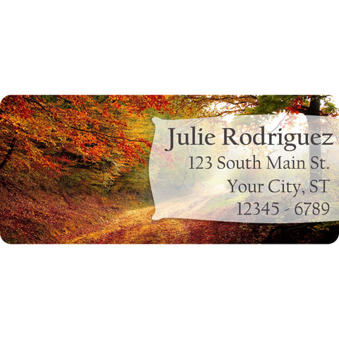 Forest Personalized Return Address Labels Country Trees Red and Orange - The FinderThings
