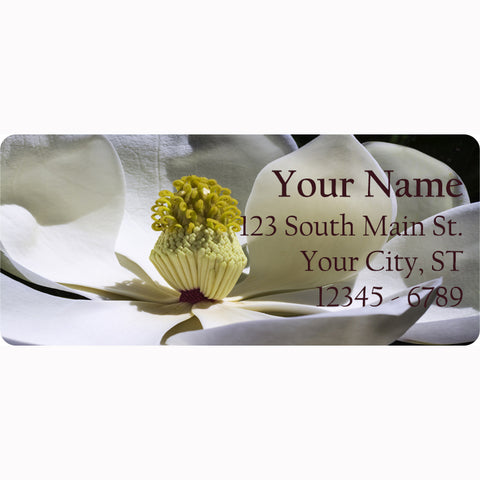 Magnolia Flower Bud Personalized Return Address Labels Whit Magnolia Flower Center