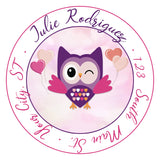 Owl Personalized Return Address Labels Pink and Purple Hearts - The FinderThings