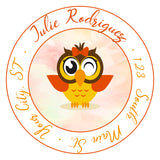 Owl Personalized Return Address Labels Orange and Yellow - The FinderThings