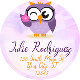 Owl Personalized Return Address Labels Purple Owl with Flower - The FinderThings