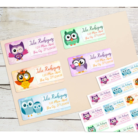 Owl Personalized Return Address Labels Variety Pack - Set of 5 Different Designs - The FinderThings