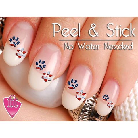 American Flag Paw Print Nail Art Decal Sticker Set