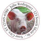 Pig Personalized Return Address Labels Pink Pig on the Farm - The FinderThings