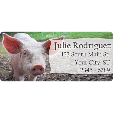 pig personalized return address labels pink pig on the farm the