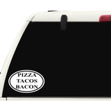 Pizza Tacos Bacon Sticker Decal - Food Lovers Foodies Junk Food Bumper Sticker - The FinderThings