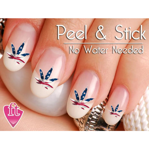 American Usa Flag Pot Leaf Weed Nail Art Decal Sticker Set The