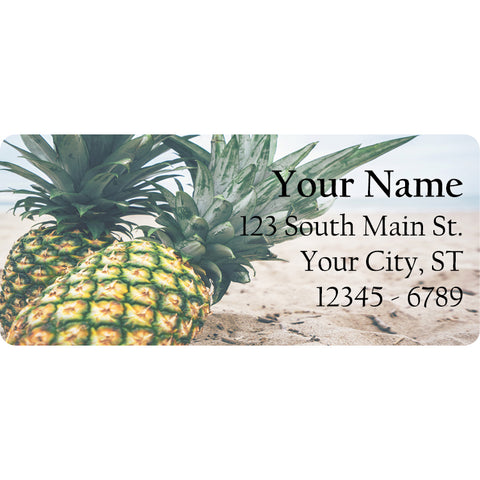 Pineapple by the Beach Personalized Return Address Labels Summer Fruit Pineapples - The FinderThings