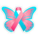 Pregnancy Loss Awareness Pink and Blue Ribbon Butterfly Car Bumper Sticker - The FinderThings