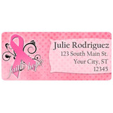 Breast Cancer Awareness Pink Swirl Ribbon Personalized Return Address Labels - The FinderThings