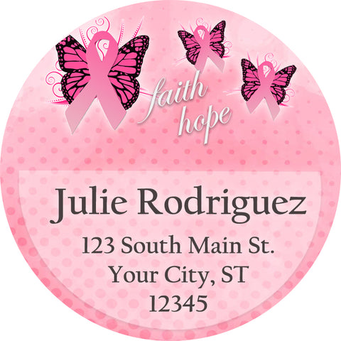 breast cancer awareness pink butterfly personalized return address