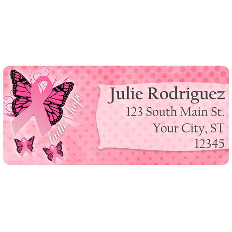 Breast Cancer Awareness Pink Butterfly Personalized Return Address Labels