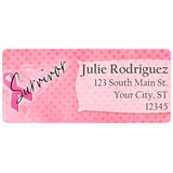 Breast Cancer Awareness Survivor Ribbon Personalized Return Address Labels - The FinderThings