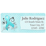 Ovarian Cancer Awareness Teal Ribbon Swirl Personalized Return Address Labels - The FinderThings
