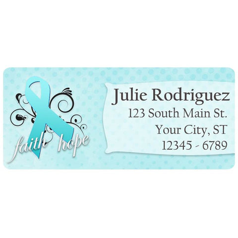 Ovarian Cancer Awareness Teal Ribbon Swirl Personalized Return Address Labels