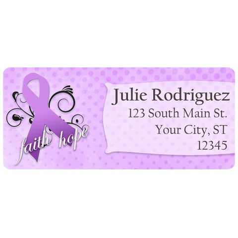 Epilepsy Awareness Purple Ribbon Awareness Personalized Return Address Labels - The FinderThings