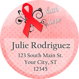 AIDS HIV Awareness Personalized Return Address Labels with Red Ribbon - The FinderThings