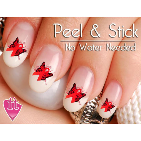AIDS HIV Awareness Ribbon Butterfly Support Nail Art Decal Sticker Set - The FinderThings