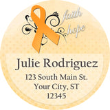 Multiple Sclerosis Awareness Orange Ribbon Swirl Personalized Return Address Labels - The FinderThings