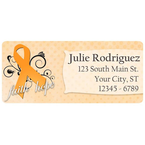 Multiple Sclerosis Awareness Orange Ribbon Swirl Personalized Return Address Labels