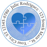 Autism Awareness Light it Up Blue Heart Personalized Return Address Labels - The FinderThings
