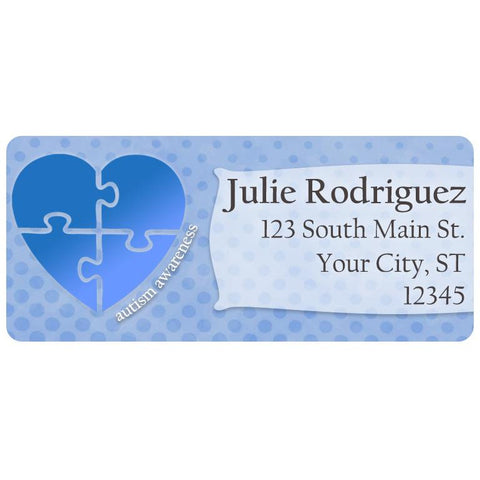 Autism Awareness Light it Up Blue Heart Personalized Return Address Labels