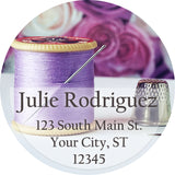 Purple Sewing Personalized Return Address Labels Seamstress Thread and Pins - The FinderThings