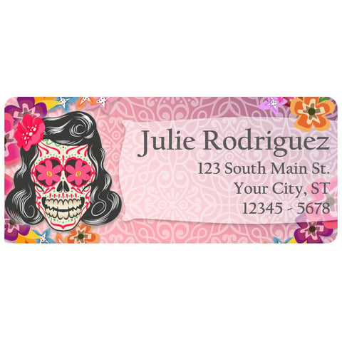 Sugar Skull Rockabilly Girl Skull Personalized Return Address Labels - The FinderThings